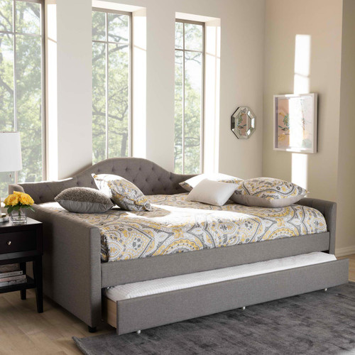 Baxton Studio Eliza Modern and Contemporary Grey Fabric Upholstered Queen Size Daybed with Trundle