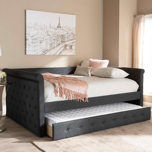 Baxton Studio Alena Modern and Contemporary Dark Grey Fabric Upholstered Queen Size Daybed with Trundle