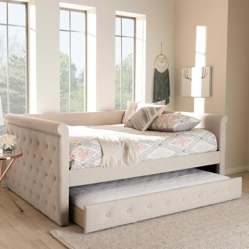 Baxton Studio Alena Modern and Contemporary Light Beige Fabric Upholstered Queen Size Daybed with Trundle