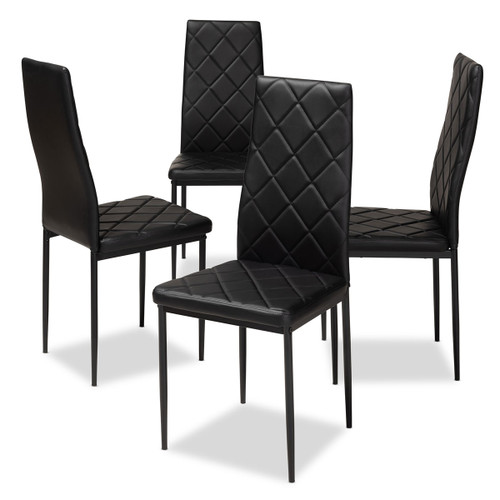 Baxton Studio Blaise Modern and Contemporary Black Faux Leather Upholstered Dining Chair (Set of 4)
