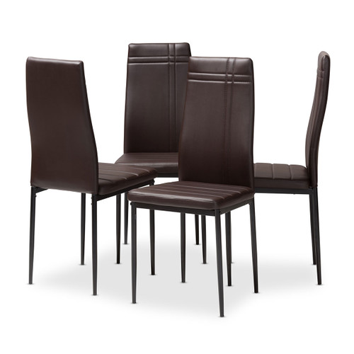 Baxton Studio Matiese Modern and Contemporary Brown Faux Leather Upholstered Dining Chair (Set of 4)