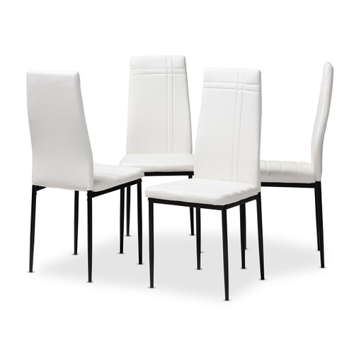 Baxton Studio Matiese Modern and Contemporary White Faux Leather Upholstered Dining Chair (Set of 4)