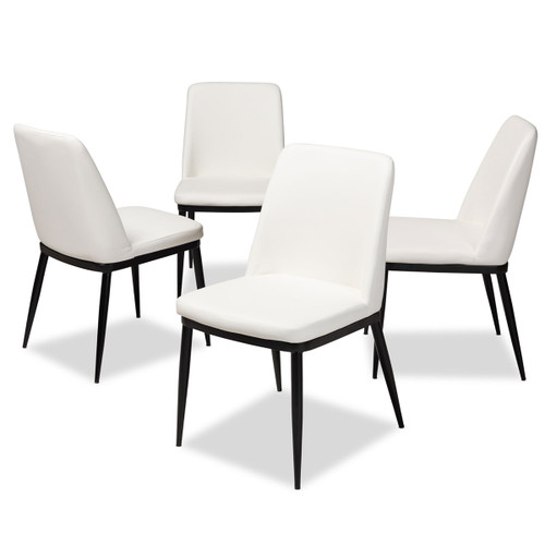 Baxton Studio Darcell Modern and Contemporary White Faux Leather Upholstered Dining Chair (Set of 4)