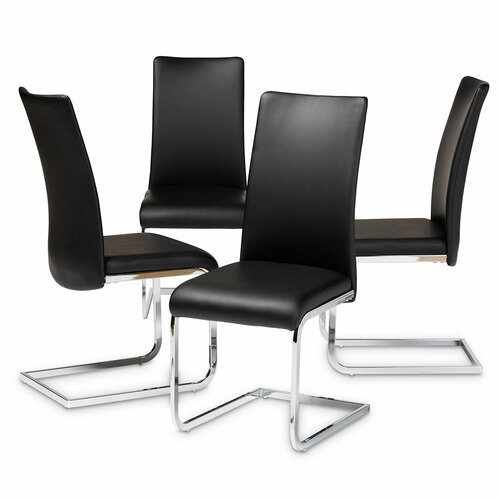 Baxton Studio Cyprien Modern and Contemporary Black Faux Leather Upholstered Dining Chair (Set of 4)