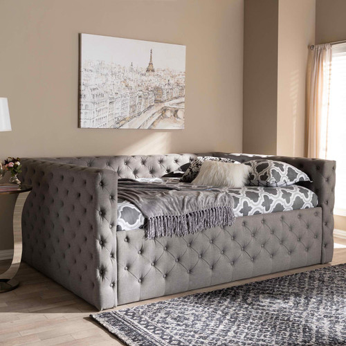 Baxton Studio Anabella Modern and Contemporary Grey Fabric Upholstered Queen Size Daybed