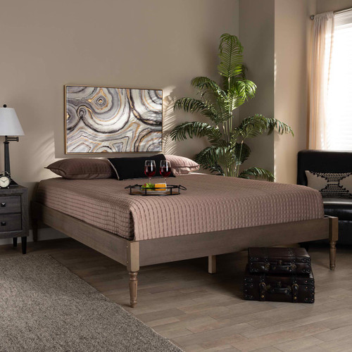 Baxton Studio Colette French Bohemian Weathered Grey Oak Finished Wood Queen Size Platform Bed Frame