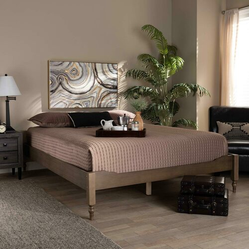 Baxton Studio Laure French Bohemian Weathered Grey Oak Finished Wood Queen Size Platform Bed Frame
