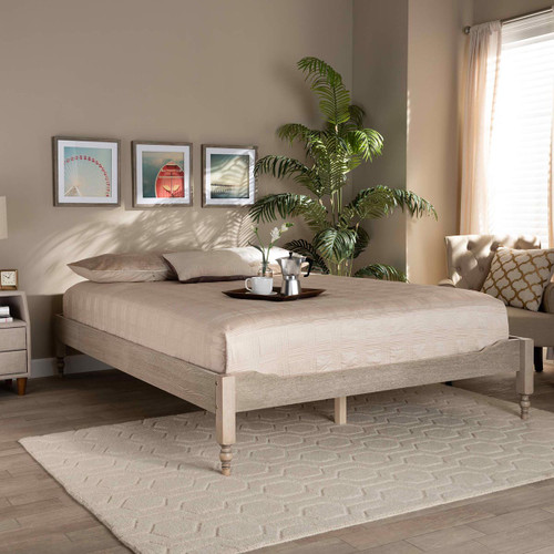 Baxton Studio Laure French Bohemian Antique White Oak Finished Wood Queen Size Platform Bed Frame