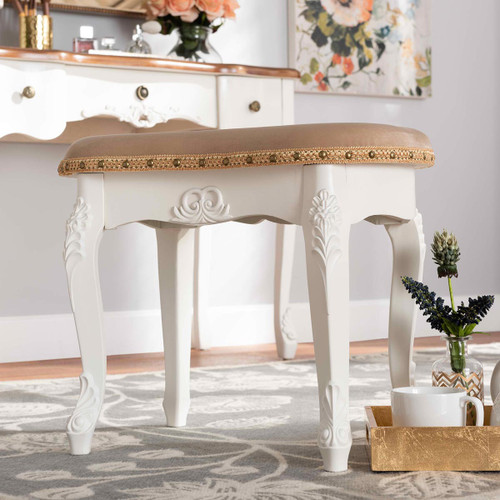 Baxton Studio Gabrielle Traditional French Country Provincial Sand Velvet Fabric Upholstered White-Finished Wood Vanity Ottoman