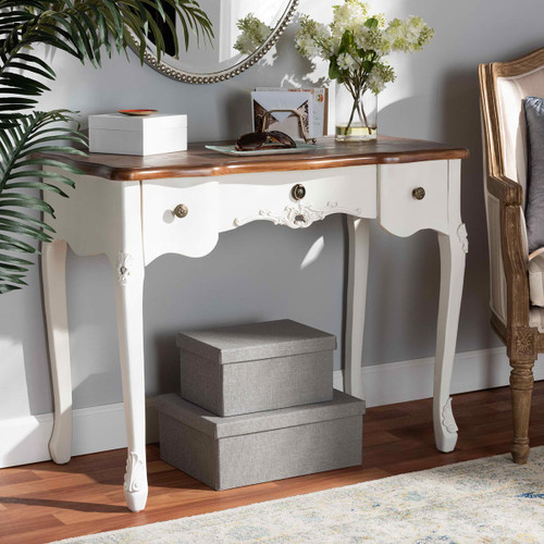 Baxton Studio Sophie Classic Traditional French Country White and Brown Finished Small 3-Drawer Wood Console Table