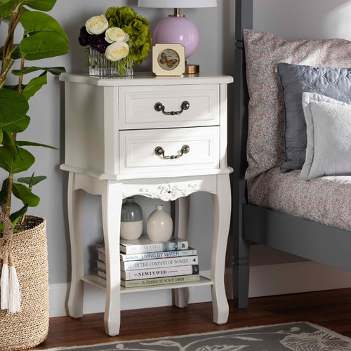 Baxton Studio Gabrielle Traditional French Country Provincial White-Finished 2-Drawer Wood Nightstand