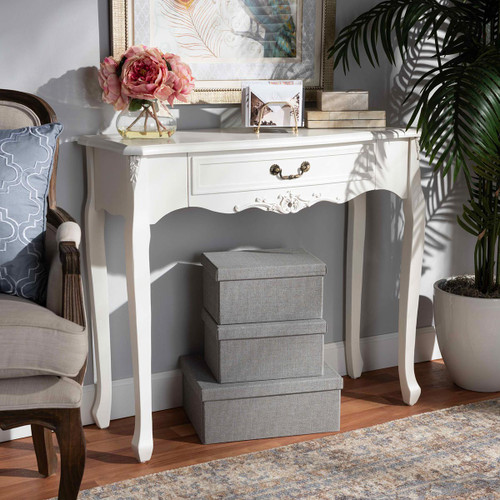 Baxton Studio Gabrielle Traditional French Country Provincial White-Finished 1-Drawer Wood Console Table