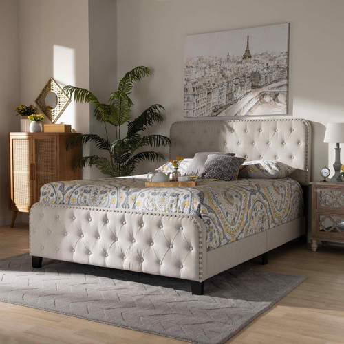 Baxton Studio Annalisa Modern Transitional Beige Fabric Upholstered Button Tufted Queen Size Panel Bed