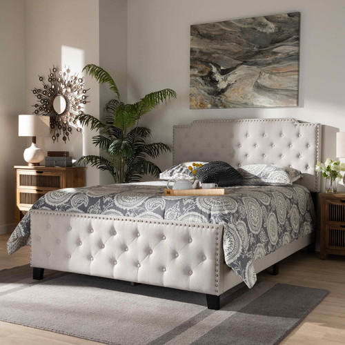 Baxton Studio Marion Modern Transitional Beige Fabric Upholstered Button Tufted Queen Size Panel Bed