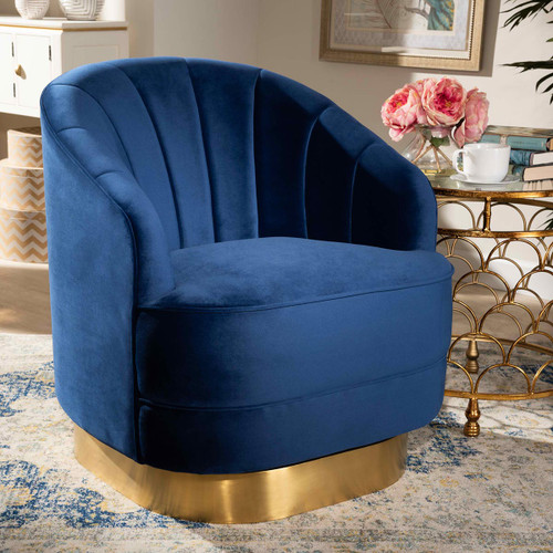 Baxton Studio Fiore Glam and Luxe Royal Blue Velvet Fabric Upholstered Brushed Gold Finished Swivel Accent Chair