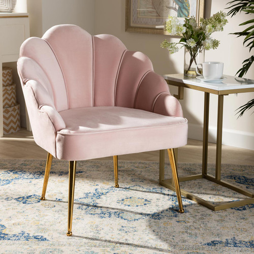Baxton Studio Cinzia Glam and Luxe Light Pink Velvet Fabric Upholstered Gold Finished Seashell Shaped Accent Chair