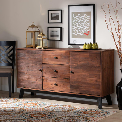 Baxton Studio Calla Modern and Contemporary Brown and Black Oak Finished 2-Door Wood Sideboard Buffet
