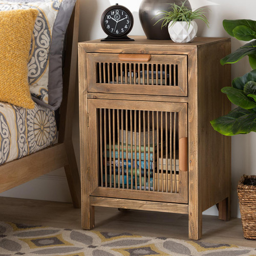 Baxton Studio Clement Rustic Transitional Medium Oak Finished 1-Door and 1-Drawer Wood Spindle Nightstand