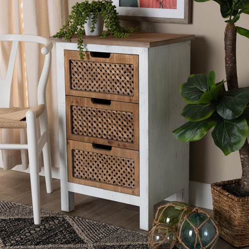 Baxton Studio Vincent Rustic Farmhouse and Shabby Chic White and Oak Brown Finished 3-Drawer Wood Storage Cabinet