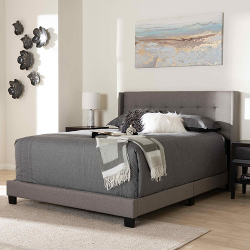 Baxton Studio Lisette Modern and Contemporary Grey Fabric Upholstered Queen Size Bed