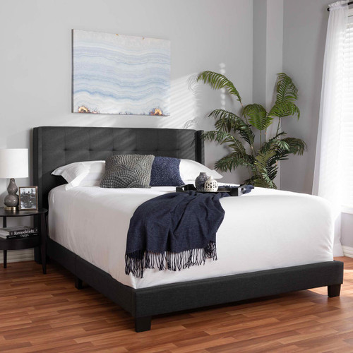Baxton Studio Lisette Modern and Contemporary Charcoal Grey Fabric Upholstered Queen Size Bed