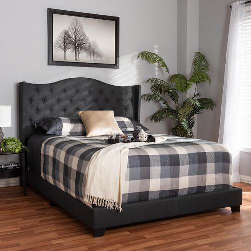 Baxton Studio Alesha Modern and Contemporary Charcoal Grey Fabric Upholstered Queen Size Bed