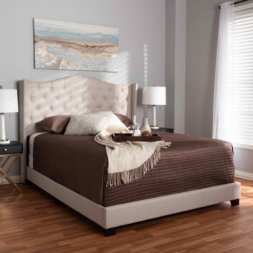 Baxton Studio Alesha Modern and Contemporary Beige Fabric Upholstered Queen Size Bed