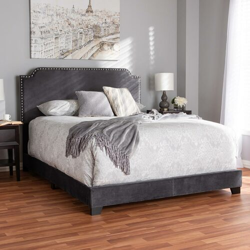 Baxton Studio Darcy Luxe and Glamour Dark Grey Velvet Upholstered Queen Size Bed