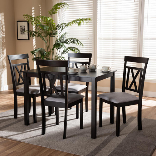 Baxton Studio Rosie Modern and Contemporary Espresso Brown Finished and Grey Fabric Upholstered 5-Piece Dining Set
