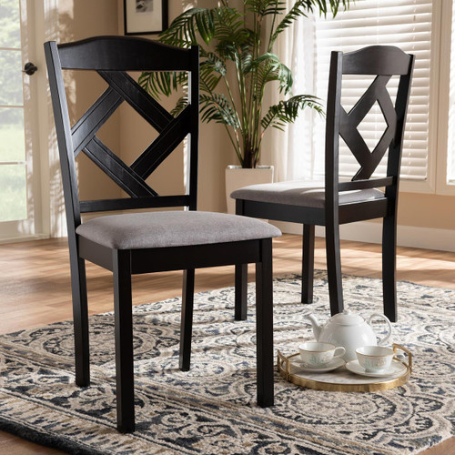 Baxton Studio Ruth Modern and Contemporary Grey Fabric Upholstered and Espresso Brown Finished Dining Chair Set of 2