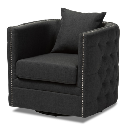 Baxton Studio Micah Modern and Contemporary Grey Fabric Upholstered Tufted Swivel Chair