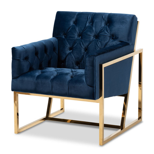 Baxton Studio Milano Modern and Contemporary Navy Velvet Fabric Upholstered Gold Finished Lounge Chair