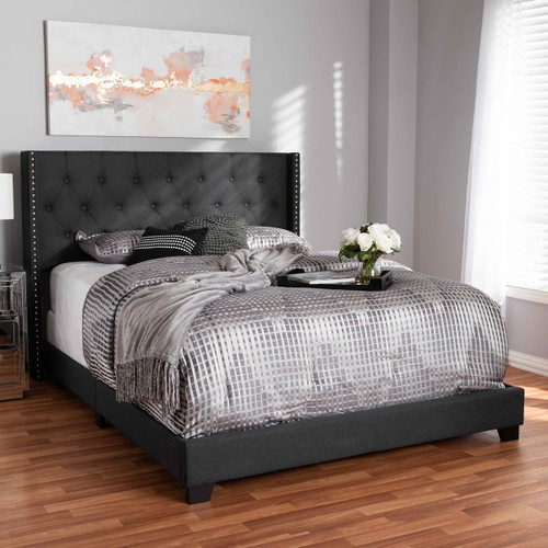 Baxton Studio Brady Modern and Contemporary Charcoal Grey Fabric Upholstered King Size Bed