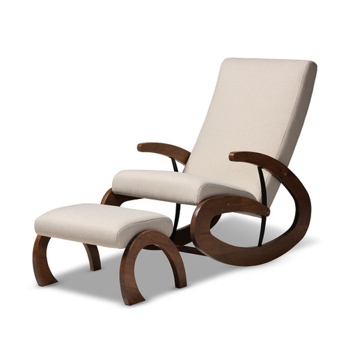 Baxton Studio Kaira Modern and Contemporary 2-Piece Light Beige Fabric Upholstered and Walnut-Finished Wood Rocking Chair and Ottoman Set