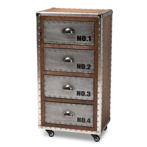 Baxton Studio Avere French Industrial Brown Wood and Silver Metal 4-Drawer Rolling Accent Storage Cabinet