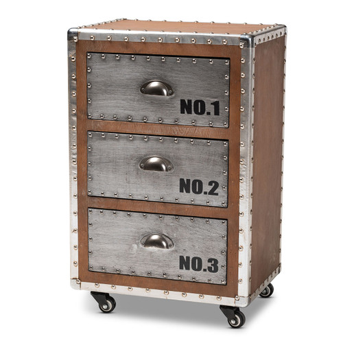 Baxton Studio Avere French Industrial Brown Wood and Silver Metal 3-Drawer Rolling Nightstand