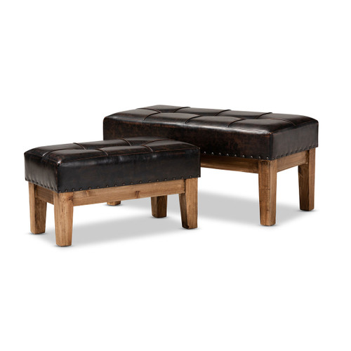 Baxton Studio Lenza Rustic Dark Brown Faux Leather Upholstered 2-Piece Wood Ottoman Set