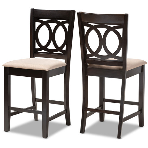 Baxton Studio Lenoir Modern and Contemporary Sand Fabric Upholstered Espresso Brown Finished Wood Counter Height Pub Chair Set of 2