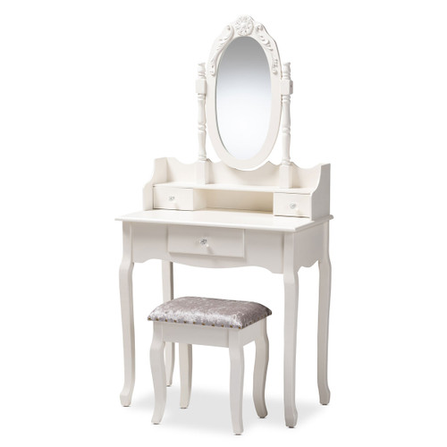 Baxton Studio Veronique Traditional French Provincial White Finished Wood 2-Piece Vanity Table with Mirror and Ottoman