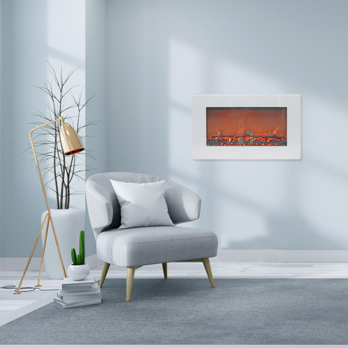 Cambridge Callisto 30 In. Wall-Mount Electric Fireplace in White with Realistic Log Display