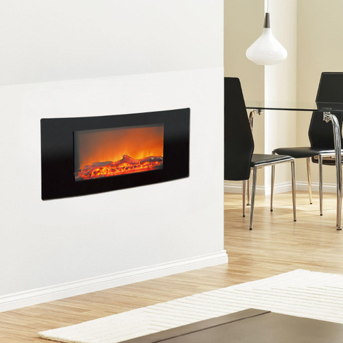 Cambridge Callisto 35 In. Wall-Mount Electric Fireplace with Black Curved Panel and Realistic Log Display