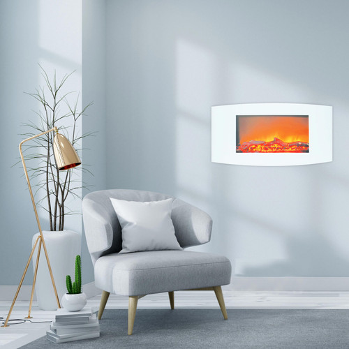 Cambridge Callisto 35 In. Wall-Mount Electric Fireplace with White Curved Panel and Realistic Log Display