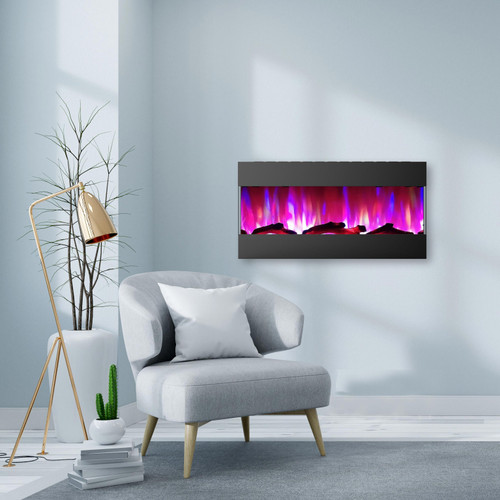 Cambridge 42 In. Recessed Wall Mounted Electric Fireplace with Logs and LED Color Changing Display, Black