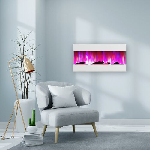 Cambridge 42 In. Recessed Wall Mounted Electric Fireplace with Logs and LED Color Changing Display, White
