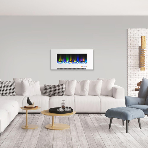 Cambridge 42 In. Wall-Mount Electric Fireplace in White with Multi-Color Flames and Driftwood Log Display