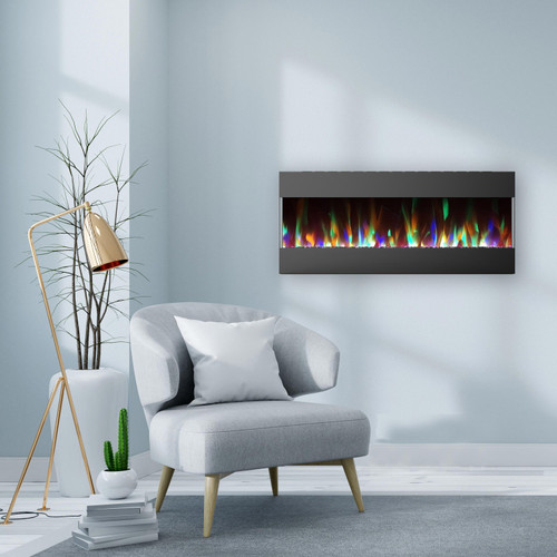 Cambridge 50 In. Recessed Wall Mounted Electric Fireplace with Crystal and LED Color Changing Display, Black