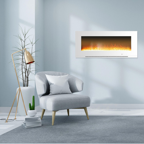 Cambridge Metropolitan 56 In. Wall-Mount Electric Fireplace in White with Crystal Rock Display