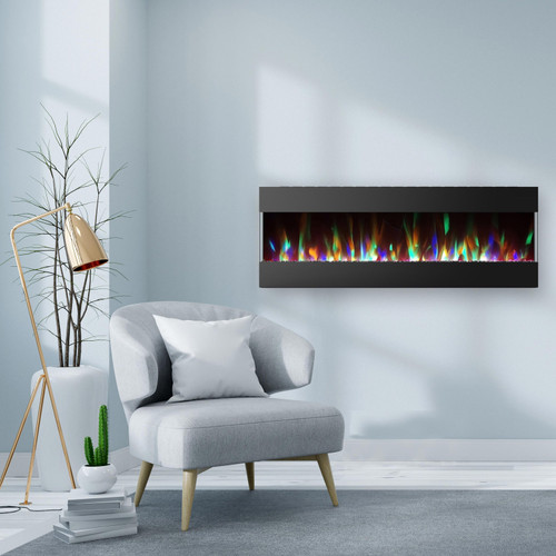 Cambridge 60 In. Recessed Wall Mounted Electric Fireplace with Crystal and LED Color Changing Display, Black