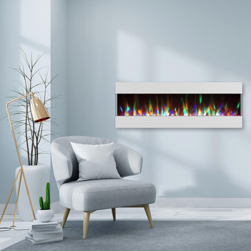 Cambridge 60 In. Recessed Wall Mounted Electric Fireplace with Crystal and LED Color Changing Display, White