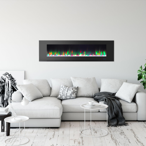 Cambridge 72 In. Wall-Mount Electric Fireplace in Black with Multi-Color Flames and Crystal Rock Display